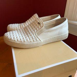 Michael Kors stud white leather slip on sneakers